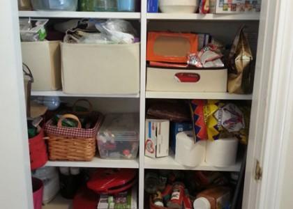 Hall closet before being organized by Regina Sanchez a professional organizer